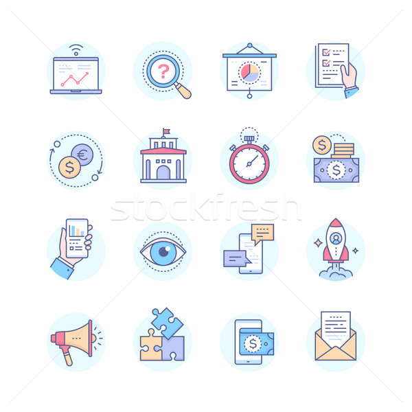 Business concepts - set of line design style icons Business - set of line design style icons Stock photo © Decorwithme