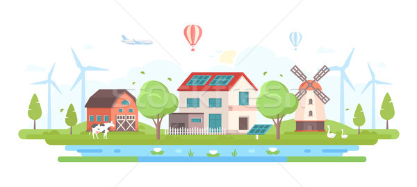 Eco-friendly farm with pond - modern flat design style vector illustration Stock photo © Decorwithme