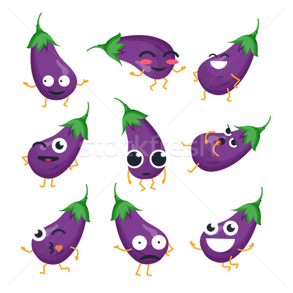 Funny eggplant - vector isolated cartoon emoticons Stock photo © Decorwithme
