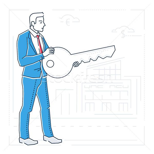 Biznesmen kluczowych line projektu stylu odizolowany Zdjęcia stock © Decorwithme
