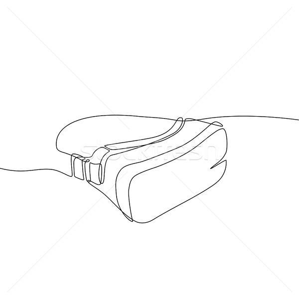 バーチャル 現実 ヘッド 1 行 デザイン ストックフォト © Decorwithme
