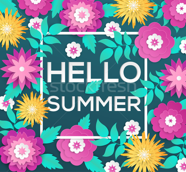 Hello summer - modern vector colorful illustration Stock photo © Decorwithme