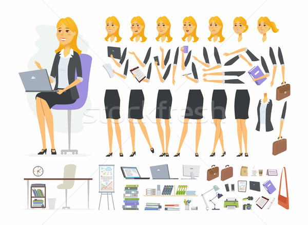 Pretty businesswoman - vector cartoon people character constructor Stock photo © Decorwithme
