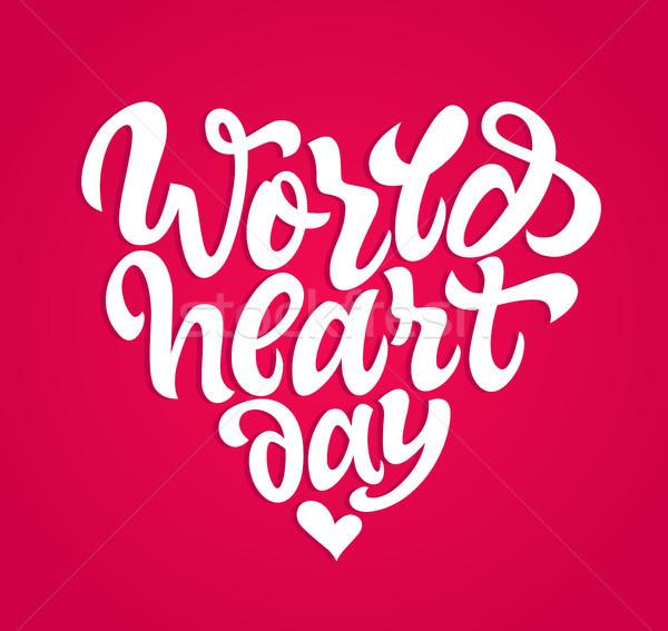 Mundo corazón día vector dibujado a mano cepillo Foto stock © Decorwithme