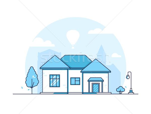Stock photo: Cottage - modern thin line design style vector illustration