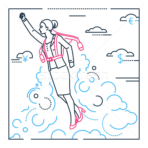 Businesswoman flying with a jetpack - line design style illustration Stock photo © Decorwithme