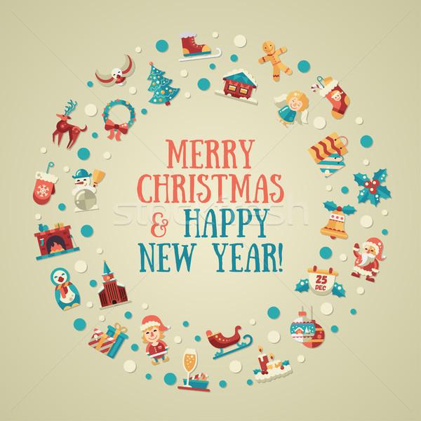 Illustratie christmas gelukkig nieuwjaar ontwerp briefkaart iconen Stockfoto © Decorwithme