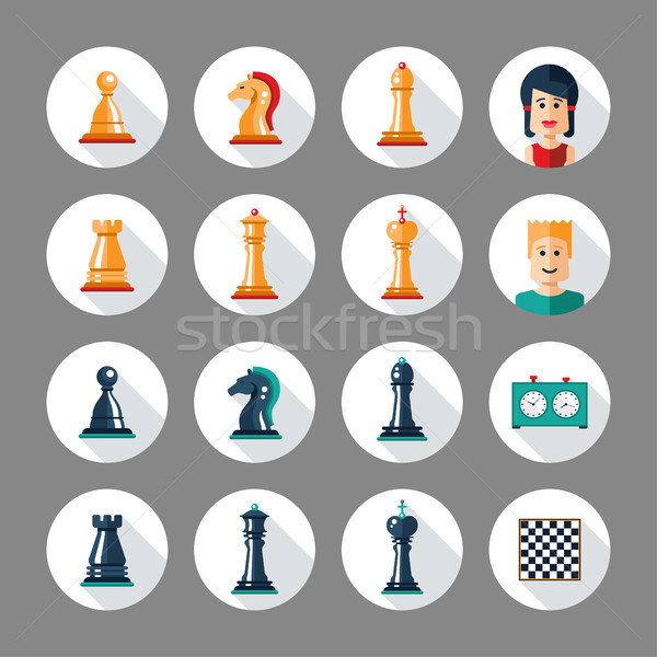 Set of flat design chess icons with players Stock photo © Decorwithme