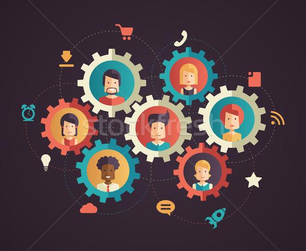Red comunicación moderna diseno negocios infografía Foto stock © Decorwithme