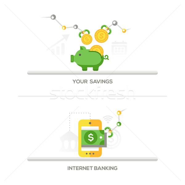 Savings, Internet Banking Icons Stock photo © Decorwithme