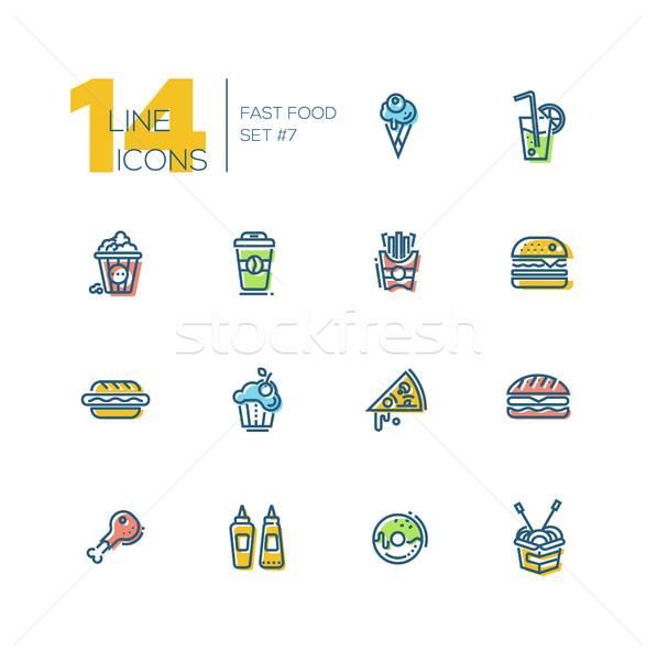 Stockfoto: Fast · food · cafe · menu · lijn · ingesteld