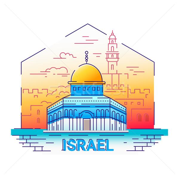 İsrail modern vektör hat seyahat örnek Stok fotoğraf © Decorwithme