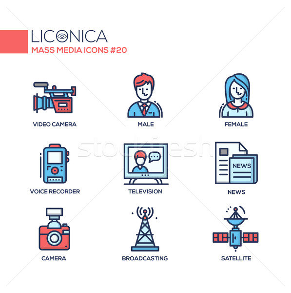 Mass Media - coloured modern single line icons set Stock photo © Decorwithme
