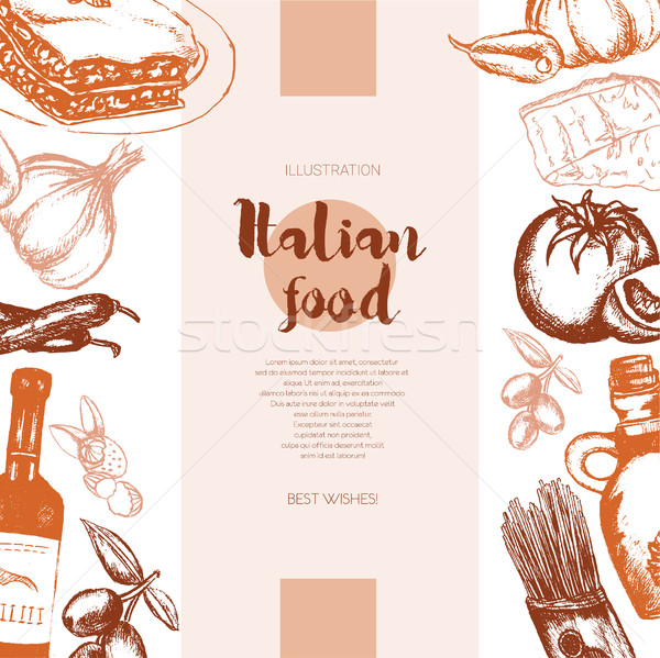 Italian Food - color hand drawn composite banner. Stock photo © Decorwithme