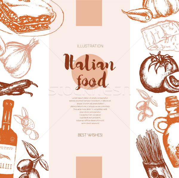 İtalyan gıda renk afiş vektör Stok fotoğraf © Decorwithme