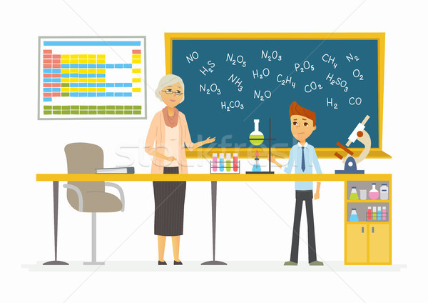 Chemistry lesson - modern cartoon people characters illustration Stock photo © Decorwithme