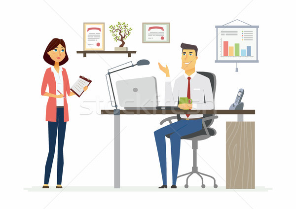 Office Scene - modern vector cartoon business characters illustration Stock photo © Decorwithme
