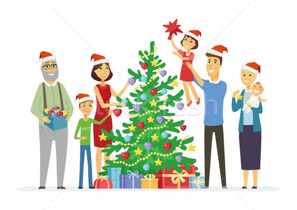 Boldog család karácsonyfa rajzolt emberek betűk illusztráció fehér Stock fotó © Decorwithme