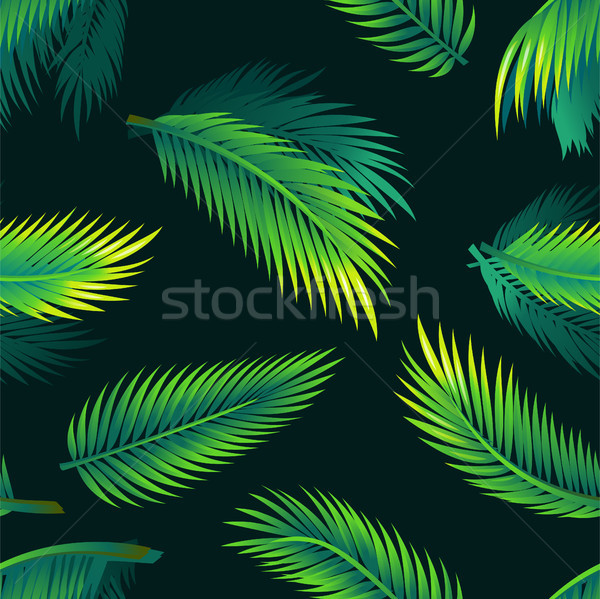 Tropical palm leaves - seamless realistic modern material design pattern Stock photo © Decorwithme