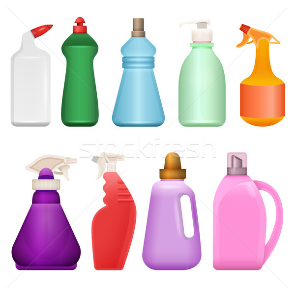 Household chemical goods - modern vector realistic isolated set of objects Stock photo © Decorwithme