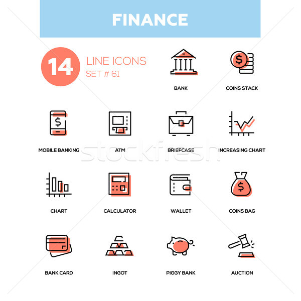 Business and finance - line design icons set Stock photo © Decorwithme