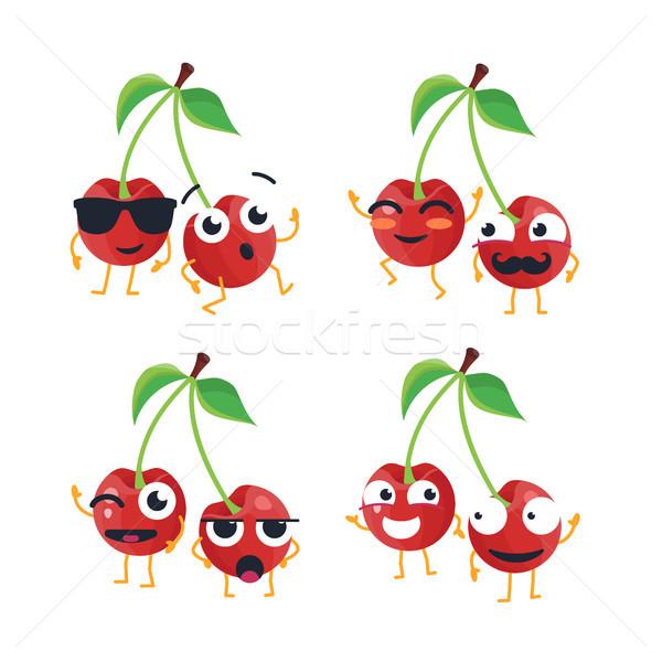 Funny cerezas vector aislado Cartoon Foto stock © Decorwithme
