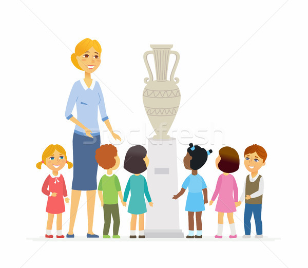Children with teacher in museum - cartoon people characters isolated illustration Stock photo © Decorwithme