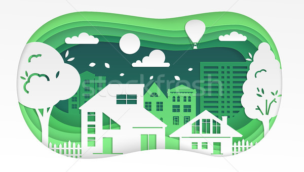 Stock photo: Town - modern vector paper cut illustration