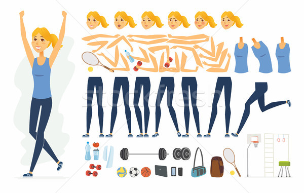 Sportswoman - vector cartoon people character constructor Stock photo © Decorwithme