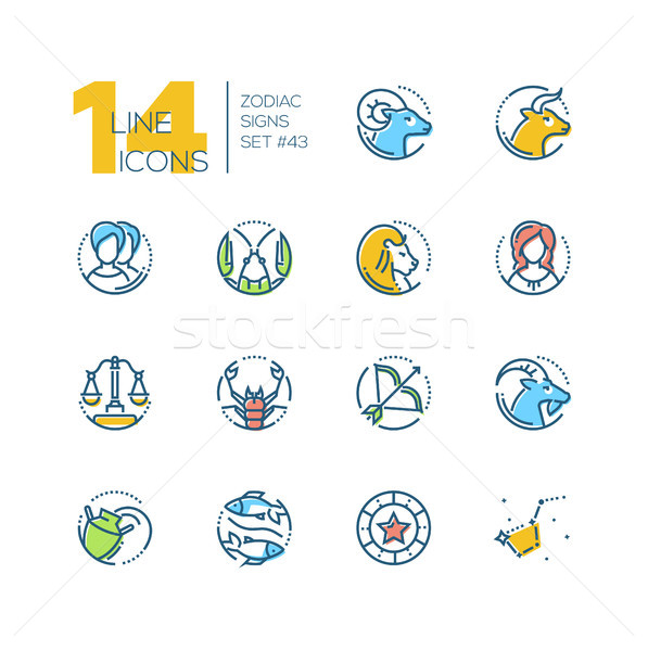Zodíaco sinais conjunto linha projeto estilo Foto stock © Decorwithme