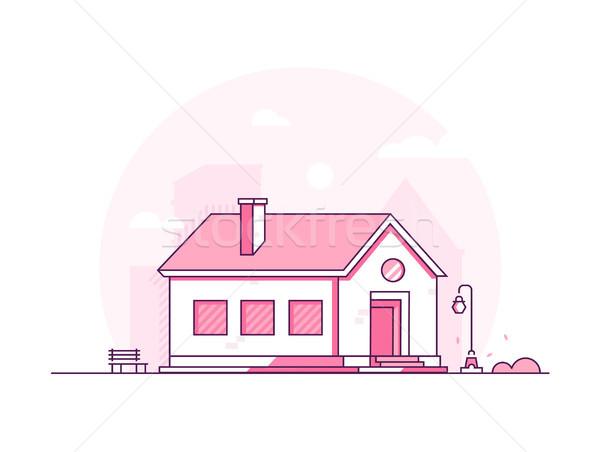 Nice house - modern thin line design style vector illustration Stock photo © Decorwithme