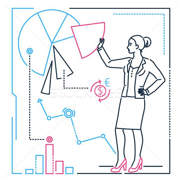 Businesswoman showing a diagram - line design style illustration Stock photo © Decorwithme