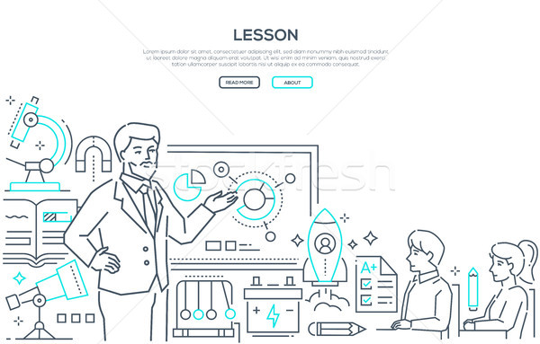 Physics Lesson - modern line design style banner Stock photo © Decorwithme