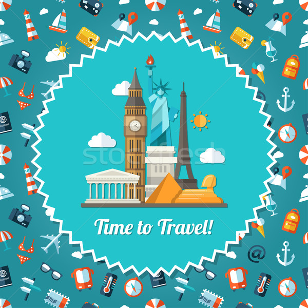 Illustration of travel flat design postcard with icons Stock photo © Decorwithme