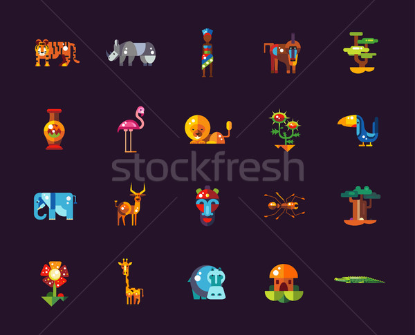 Set of flat design african icons and infographics elements with  Stock photo © Decorwithme