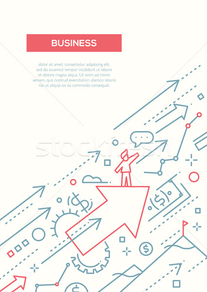 Business succes lijn ontwerp brochure poster Stockfoto © Decorwithme