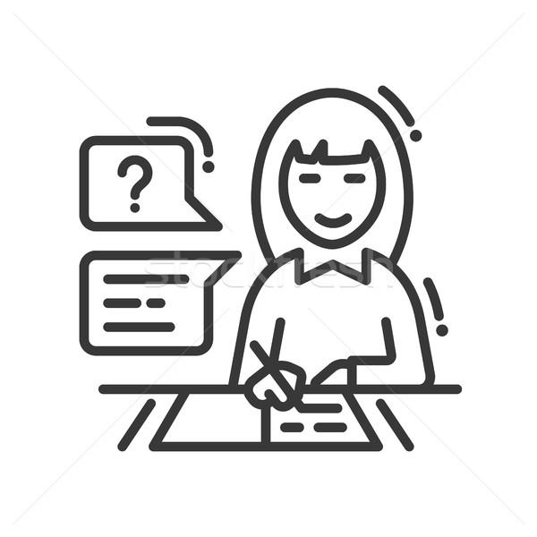 Vrouwelijke studeren lijn ontwerp geïsoleerd icon Stockfoto © Decorwithme