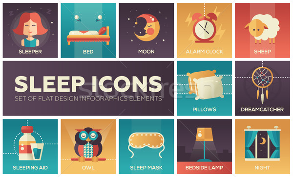 Sleeping - flat design icons set Stock photo © Decorwithme