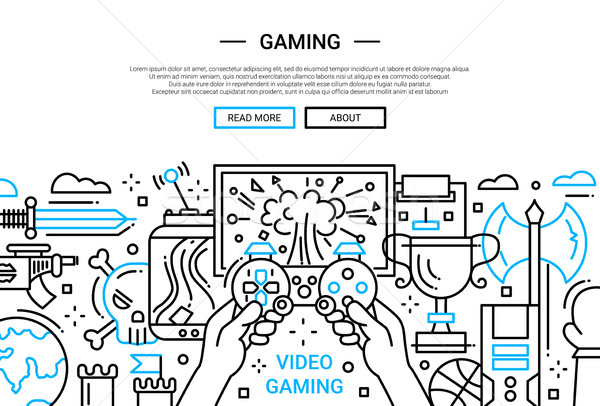 Videó számítógépes játékok vonal terv weboldal szalag Stock fotó © Decorwithme