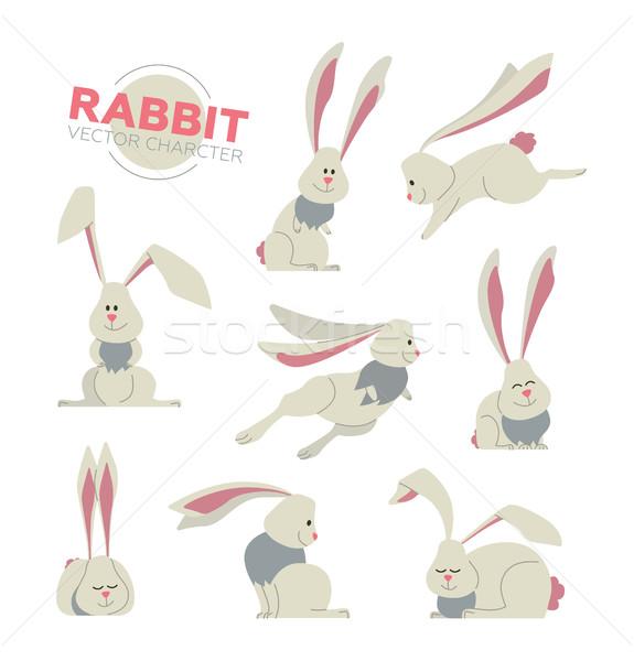 Kellemes húsvétot modern vektor szett illusztrációk rajzolt állat Stock fotó © Decorwithme