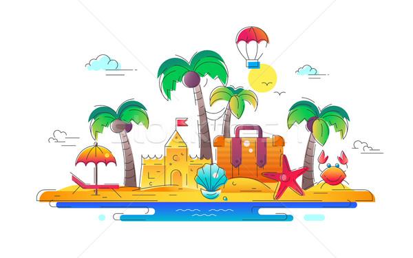 Beira-mar vetor linha viajar ilustração moderno Foto stock © Decorwithme