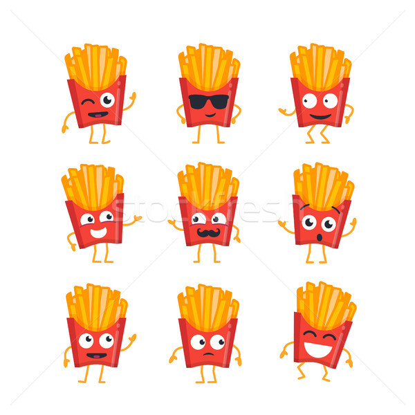 French Fries - vector set of mascot illustrations. Stock photo © Decorwithme