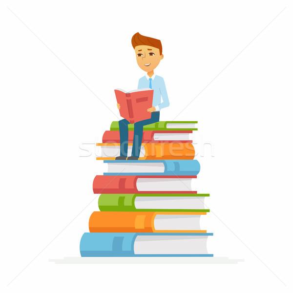 Iskolás fiú karakter boldog gyerek ül könyvek Stock fotó © Decorwithme