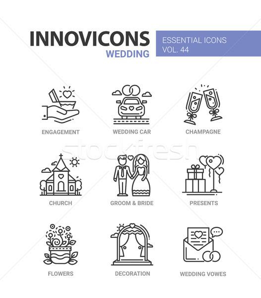 Wedding - modern vector line design icons set Stock photo © Decorwithme