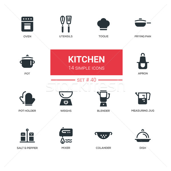 Stock photo: Kitchen utensils - line design icons set