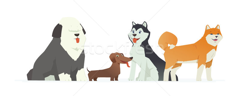 Cute dogs - modern vector cartoon characters illustration Stock photo © Decorwithme