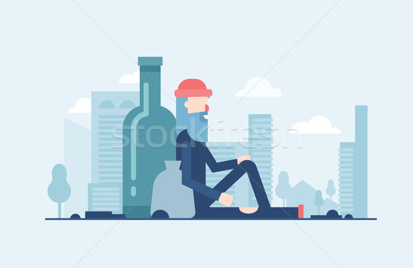Homeless man - modern flat design style illustration Stock photo © Decorwithme