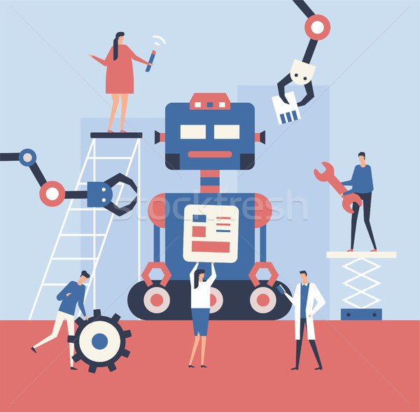 Robot design style illustration cute Photo stock © Decorwithme