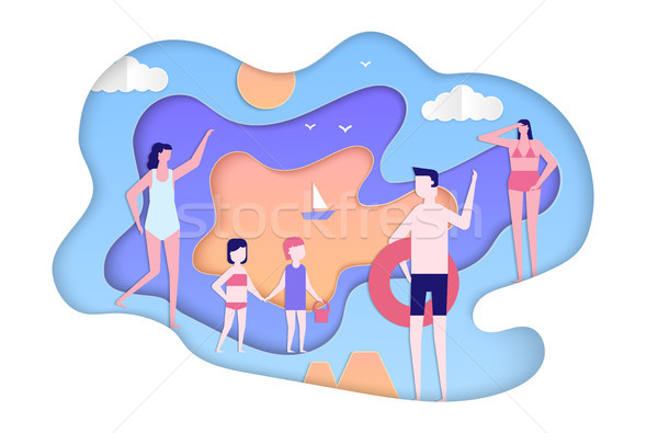 Summer holiday - modern paper cut illustration Stock photo © Decorwithme