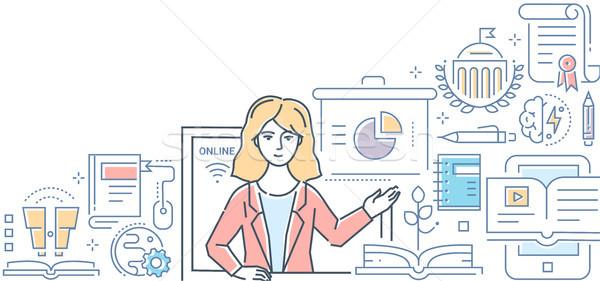 Online education - colorful line design style illustration Stock photo © Decorwithme